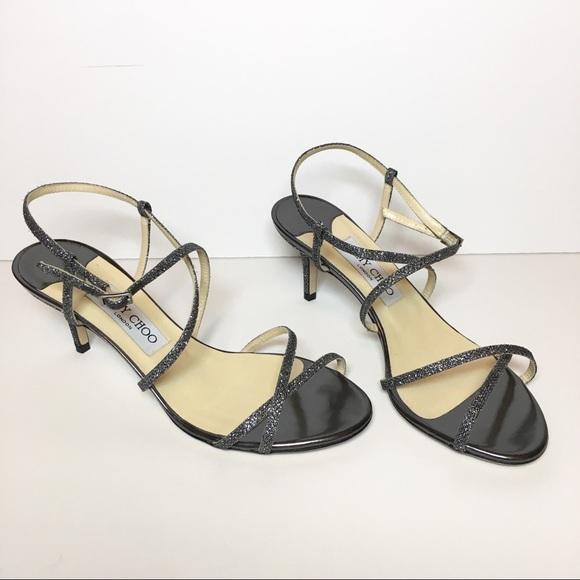 fb936a6c4ac044 Jimmy Choo Shoes - Jimmy Choo Elaine Glitter Silver Strap Sandals